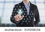 businessman hand pressing icon... | Shutterstock . vector #519208156