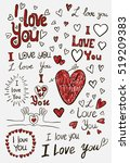 i love you  handwritten sketches | Shutterstock .eps vector #519209383