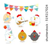set of party chicken  rooster...   Shutterstock .eps vector #519217024