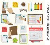 vector notebooks agenda... | Shutterstock .eps vector #519219310