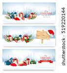 three christmas banners with... | Shutterstock .eps vector #519220144