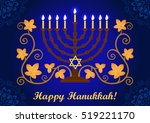 happy hanukkah greeting card ...   Shutterstock .eps vector #519221170