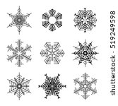 snowflake simple icon set...   Shutterstock .eps vector #519249598