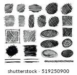 set of hand drawn scribble... | Shutterstock .eps vector #519250900