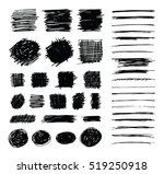 Set of hand drawn scribble symbols isolated on white. Doodle style sketches. Shaded and hatched badges, strokes and bubble shapes. Monochrome vector eps8 design elements.