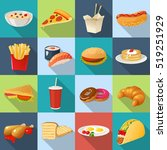 isolated fast food square... | Shutterstock .eps vector #519251929