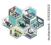 3d colored isometric office on... | Shutterstock .eps vector #519252013