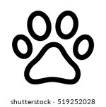 Dog Or Cat Paw Print Line Art...