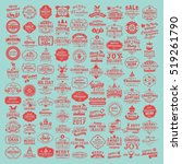 100 christmas labels and... | Shutterstock .eps vector #519261790