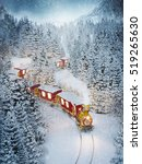 amazing cute christmas train... | Shutterstock . vector #519265630