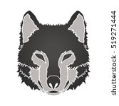 Black Wolf Face Front View...