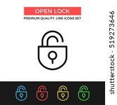 vector open lock icon. unlock... | Shutterstock .eps vector #519273646