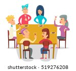 group friends eat meal... | Shutterstock .eps vector #519276208