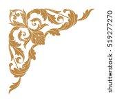 gold vintage baroque corner... | Shutterstock .eps vector #519277270