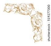 gold vintage baroque corner... | Shutterstock .eps vector #519277300