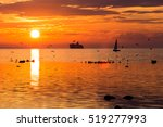 Cruise Liner Ship In Sunset In...