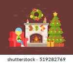 festive cozy card with... | Shutterstock .eps vector #519282769