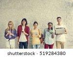 young diversity standing row... | Shutterstock . vector #519284380