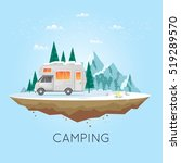 camping and hiking. winter... | Shutterstock .eps vector #519289570