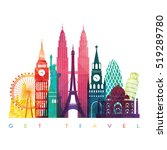 world skyline. travel and... | Shutterstock .eps vector #519289780