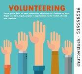 raised hands volunteering... | Shutterstock .eps vector #519298516