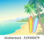 tropic beach summer landscape.... | Shutterstock .eps vector #519300679
