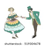 vintage girl doing courtesy and ... | Shutterstock .eps vector #519304678