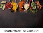 Various Spices Spoons On Stone...