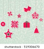 christmas decoration on blue | Shutterstock .eps vector #519306670