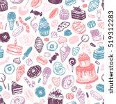 vector sweets. seamless pattern ... | Shutterstock .eps vector #519312283