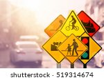 set of traffic warning sign on... | Shutterstock . vector #519314674
