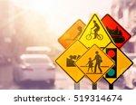 Set Of Traffic Warning Sign On...