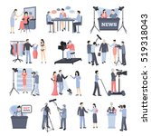 news and operator icon set with ...   Shutterstock . vector #519318043