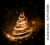 christmas tree on night holiday ... | Shutterstock .eps vector #519318388