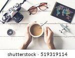 overhead view of traveler's...   Shutterstock . vector #519319114