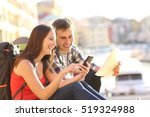 two tourists searching location ... | Shutterstock . vector #519324988