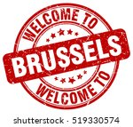 welcome to brussels. stamp. | Shutterstock .eps vector #519330574