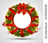 christmas wreath decorated with ... | Shutterstock .eps vector #519331030