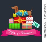 happy christmas dogs on stack... | Shutterstock .eps vector #519334504