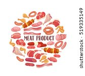 meat products in cartoon style. ... | Shutterstock .eps vector #519335149