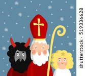 saint nicholas with devil and... | Shutterstock .eps vector #519336628