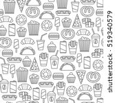 seamless pattern with fast food ... | Shutterstock .eps vector #519340579