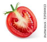 fresh tomato. half of vegetable ... | Shutterstock . vector #519344413