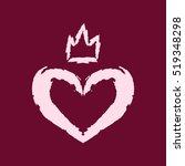 pink heart and crown painted... | Shutterstock .eps vector #519348298