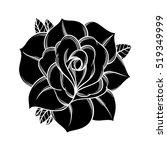 flowers roses  black and white. ... | Shutterstock .eps vector #519349999