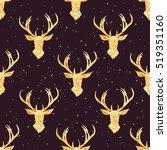 shining golden reindeer... | Shutterstock .eps vector #519351160