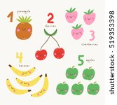 funny fruits. learn to count... | Shutterstock .eps vector #519353398