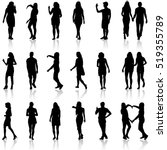 black silhouettes of beautiful... | Shutterstock .eps vector #519355789