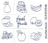 doodle set of fruits  ... | Shutterstock .eps vector #519355948