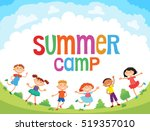 children are jumping on the... | Shutterstock .eps vector #519357010